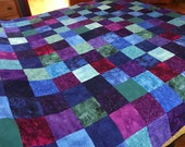 "Queen Patchwork Unfinished Quilt Top in Gemstone Colors, 72"" x 85"""