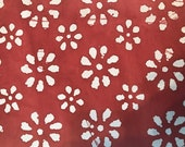 Dark Red Batik Fabric By The Yard, Cotton Quilting Fabric
