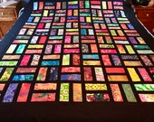 Batik Quilt Top With Bold Multi-Color Batiks, Ready to Quilt, Lap Quilt