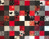 "Red Black White Quilt Top, 33"" x 45"", Ready to Finish"