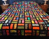 "Handmade Queen Size Quilt in Bold Multi-Color Batiks, 86"" x 98"", Homemade Quilts, Scrappy Quilt"
