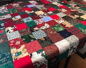 """Patchwork Christmas Quilt Top in Red and Green, 42"""" x 48"""""""