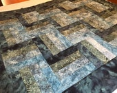 "Blue Batik Unfinished Quilt Top, 40"" x 48"", Homemade Quilts, Lap Quilts"