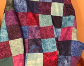 Gemstone Modern Quilt Top, Throw Quilt, Ready to Finish