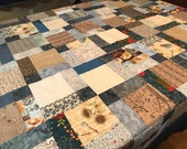 Patchwork Quilt Top in Country Blue Cream and Brown