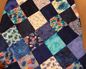 "Blue Floral Patchwork Quilt Top, 36"" x 45"", Ready to Finish"