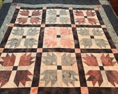 "Modern Wall Quilt in Blue Brown Marbled Batik, 60"" x 60"" Square, Handmade Quilts, Homemade Quilts"