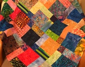 "Unfinished Quilt Top with Bright Bold Batiks, 33"" x 33"""
