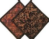 Black & Brown Batik Quilted Pot Holders, Handmade Pot Pads, Housewarming Gift