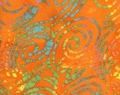 Orange Batik Fabric By The Yard, Cotton Quilting Fabric