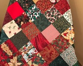 "Patchwork Christmas Quilt Top, 36"" x 45"", Ready to Finish"
