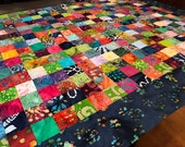 "Bright and Bold Unfinished Batik Quilt Top, 40"" x 50"", Lap Quilts, Scrappy Quilt"