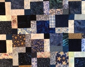 "Blue Floral Batik Unfinished Patchwork Quilt Top, 33"" x 45"", Ready to Finish"