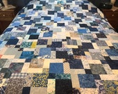 "Queen Unfinished Quilt Top in Shades of Blues, 72"" x 84"", Homemade Quilts, Queen Size Quilts"