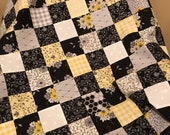 """Black and Yellow Floral Unfinished Quilt Top, 33"""" x 45"""", Ready to Finish"""