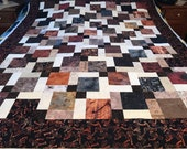 "Unfinished Quilt Top in Black Brown Beige 54"" x 67"", Lap Quilt, Scrappy Quilt, Homemade Quilt"