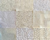 72 ~ 5 Inch Quilt Squares, White on White, White on Natural Cotton Prints