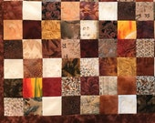 "Brown Batik Patchwork Quilt Top, 39"" x 51"""