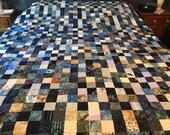Queen Size Blue Batik Scrappy Quilt Top