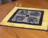 Quilted Square Kitchen Table Topper in Blue and Yellow