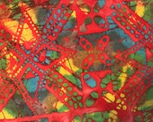 By The Yard, Red Quilters Batik Fabric, Batik Quilting Fabric