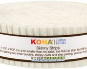 Kona Cotton 1.5inch Snow Skinny Strips, quilting strips, SS-100-40, Robert Kaufman