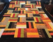 "Batik Patchwork Unfinished Quilt Top in Rich Fall Colors, 57"" x 73"""