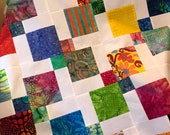 Lap Size Rainbow Batik Unfinished Quilt Top, Ready to Quilt