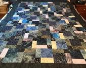 """Blue Batik Patchwork Unfinished Quilt Top, 54"""" x 67"""", Lap Quilt"""