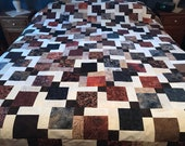 Queen Unfinished Quilt Top in Black, Brown & Cream with borders and binding, Homemade Quilts, Queen Size Quilts
