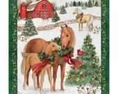 Country Christmas Horses Cotton Fabric Panel ~ Susan Winget
