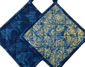 Blue Yellow Tropical Quilted Pot Holders, Handmade Pot Holders, Housewarming Gift