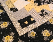 Honey Bees and Flowers Queen Size Patchwork Quilt, Ready to Ship