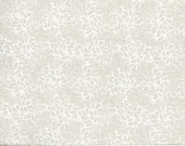 White on Natural Floral Quilting Fabric By The Yard, Petal Flow