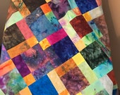 "Tropical Blue Batik Unfinished Quilt Top, 33"" x 46"", Lap Quilt Ready to Finish"
