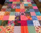 "Multi-Color Batik & Floral Quilt Top, 36"" x 45"", Ready to Finish"