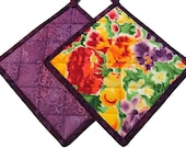 Purple Quilted Floral Pot Holders, Handmade Pot Holders, Housewarming Gift