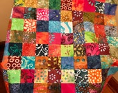 "Multi-Color Batik Quilt Top, 33"" x 45"", Handmade Lap Quilt, Homemade Quilt"