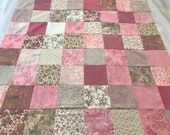 "Handmade Pastel Pink Baby Quilt Top, 36"" Square, Ready To Finish"