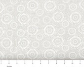 White on Natural Floral Quilting Fabric By The Yard, Lucky Medallion