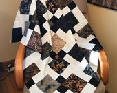 "Unfinished Batik Quilt Top in Black Brown Beige 33"" x 46"", Ready to Finish"