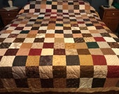 Handmade Queen Size Patchwork Quilt in Americana Colors, Ready to Ship