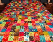 "Unfinished Quilt Top in Bright Multi-Color Batiks, 72"" x 84"", Homemade Quilts, Queen Size Quilts"