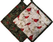 Christmas Cardinal Quilted Pot Holders, Handmade Pot Holders, Set of 2