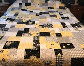 Handmade Queen Size Patchwork Quilt with Bees and Flowers, Ready to Ship