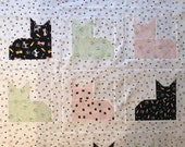 Cat Baby Quilt Kit with Backing & Binding, Ready to Quilt, Baby Crib Quilt