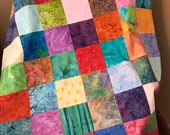 "Multi-Color Batik Quilt Top, 33"" x 46"", Handmade Lap Quilt, Homemade Quilt"
