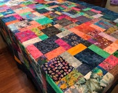 "Bright Colors Batik Quilt Top, 54"" x 67"", Lap Quilt, Throw Quilt, Handmade Quilt Top"