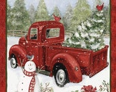 Country Red Truck Christmas Fabric Panel