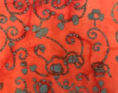 Orange Red Batik Fabric By The Yard, Cotton Quilting Fabric
